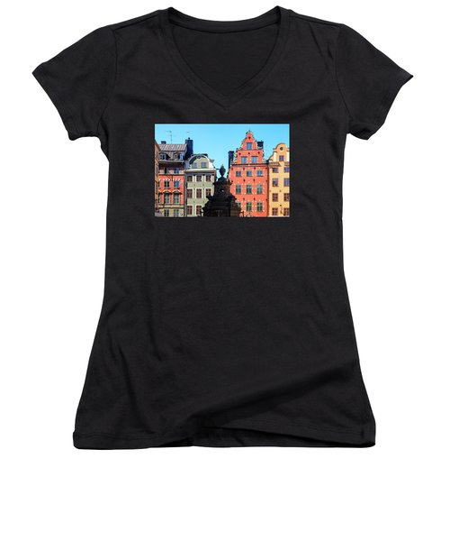 Old European Architecture Women's V-Neck T-Shirt (Junior Cut) by Teemu Tretjakov