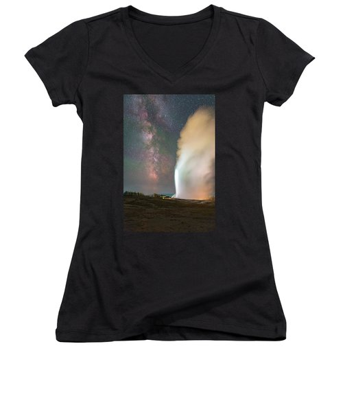 Old Faithful Erupts At Night Women's V-Neck (Athletic Fit)