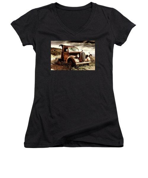 Old Ford Truck In Desert Women's V-Neck