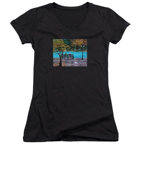 Old Friends Women's V-Neck T-Shirt (Junior Cut) by Mike Caitham