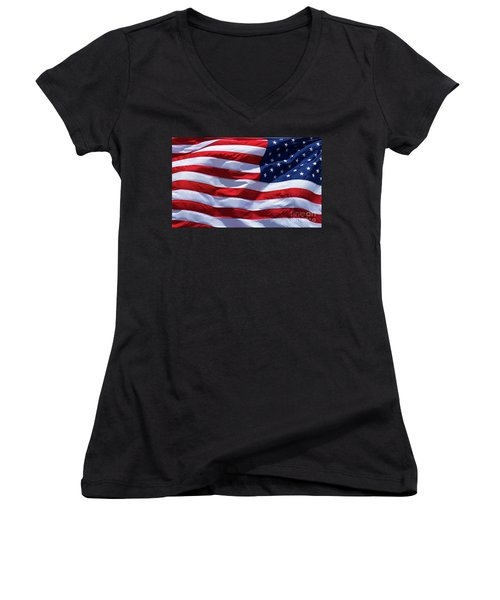 Women's V-Neck T-Shirt (Junior Cut) featuring the photograph Stitches Old Glory American Flag Art by Reid Callaway