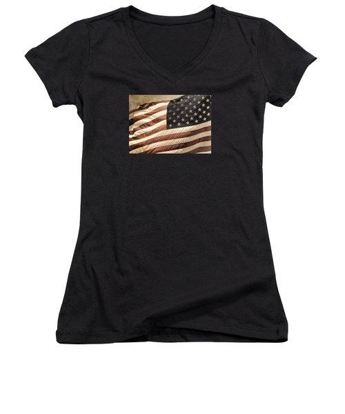 Old Glory Women's V-Neck T-Shirt (Junior Cut) by TnBackroadsPhotos