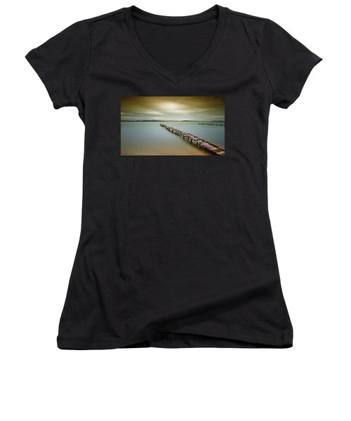 Old Jetty 0010 Women's V-Neck T-Shirt (Junior Cut) by Kevin Chippindall