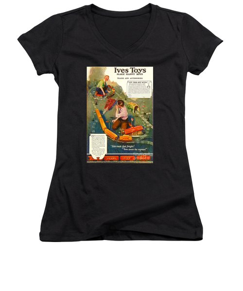 Old Litho Print Toy Train Advertisement Women's V-Neck (Athletic Fit)