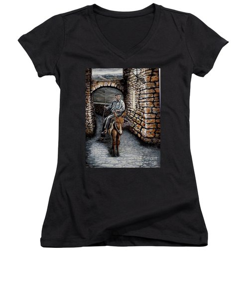 Women's V-Neck T-Shirt (Junior Cut) featuring the painting Old Man On A Donkey by Judy Kirouac