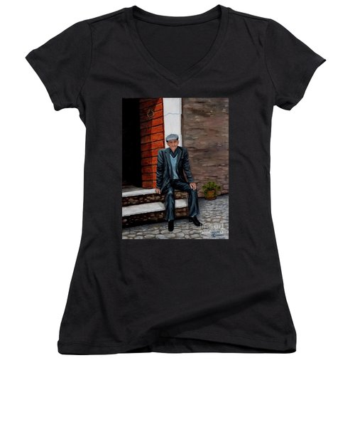 Women's V-Neck T-Shirt (Junior Cut) featuring the painting Old Man Waiting by Judy Kirouac