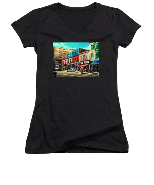 Old Montreal Schwartzs Deli Plateau Montreal City Scenes Women's V-Neck (Athletic Fit)