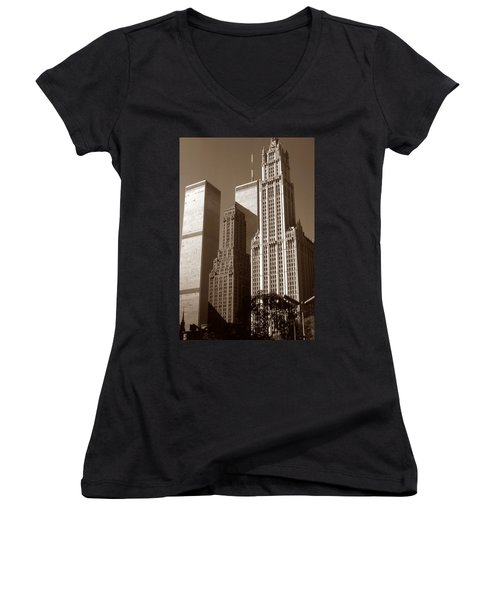 Old New York Photo - Woolworth Building And World Trade Center Women's V-Neck