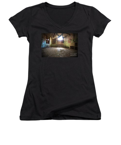 Women's V-Neck T-Shirt (Junior Cut) featuring the photograph Old Paint Shop by Randall Cogle