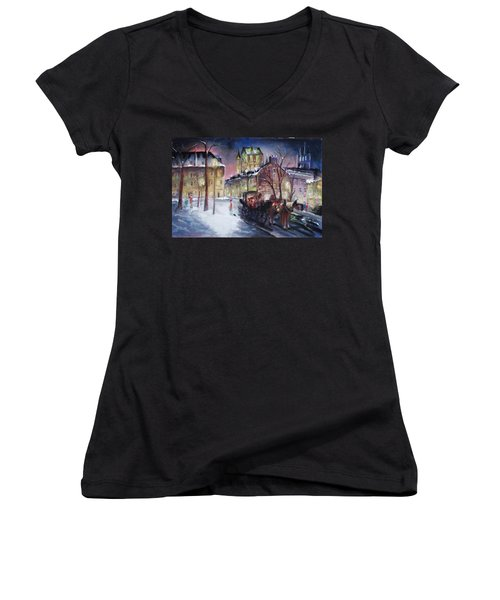 old Quebec Women's V-Neck T-Shirt (Junior Cut) by Peter Suhocke