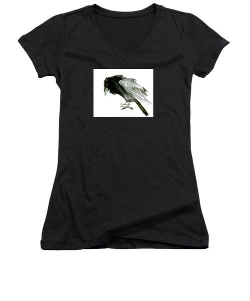 Old Raven Women's V-Neck T-Shirt (Junior Cut) by Suren Nersisyan