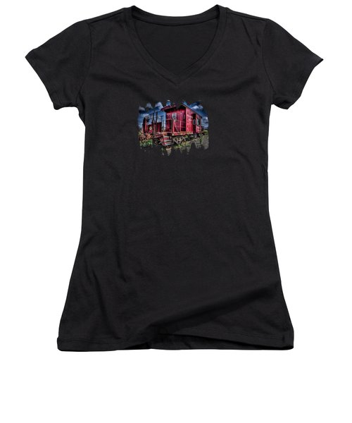 Women's V-Neck T-Shirt (Junior Cut) featuring the photograph Old Red Caboose by Thom Zehrfeld