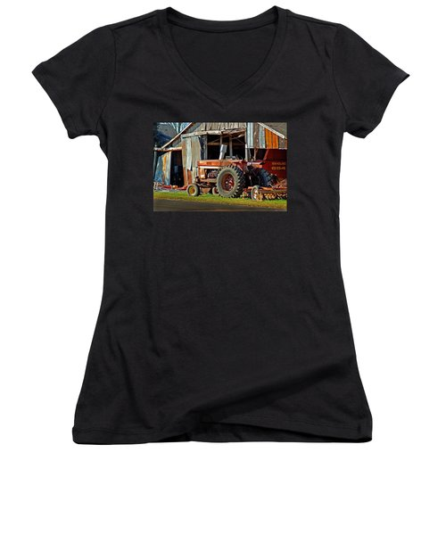 Old Red Tractor And The Barn Women's V-Neck