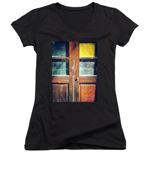 Women's V-Neck T-Shirt featuring the photograph Old Rotten Door by Silvia Ganora