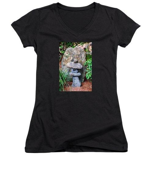 Old Stone Lantern Women's V-Neck T-Shirt (Junior Cut) by Louis Ferreira