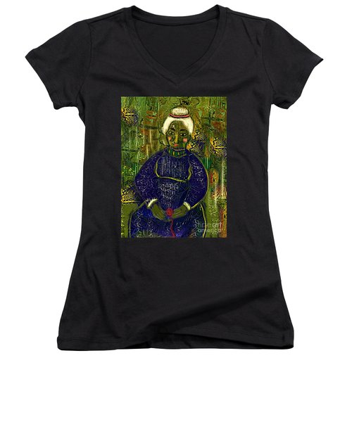 Old Storyteller Women's V-Neck T-Shirt (Junior Cut) by Alexis Rotella