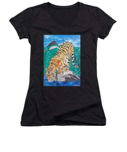 Old Tiger Drinking Women's V-Neck T-Shirt (Junior Cut) by Valerie Ornstein