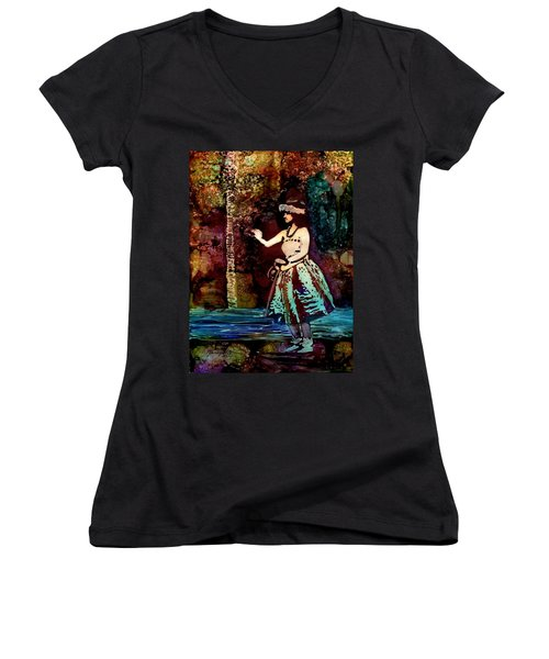 Women's V-Neck T-Shirt (Junior Cut) featuring the painting Old Time Hula Dancer by Marionette Taboniar