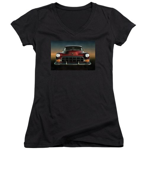 Old-timer Cadillac Convertible Women's V-Neck T-Shirt