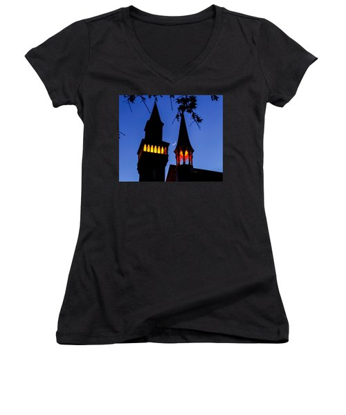 Old Town Hall Crescent Moon Women's V-Neck