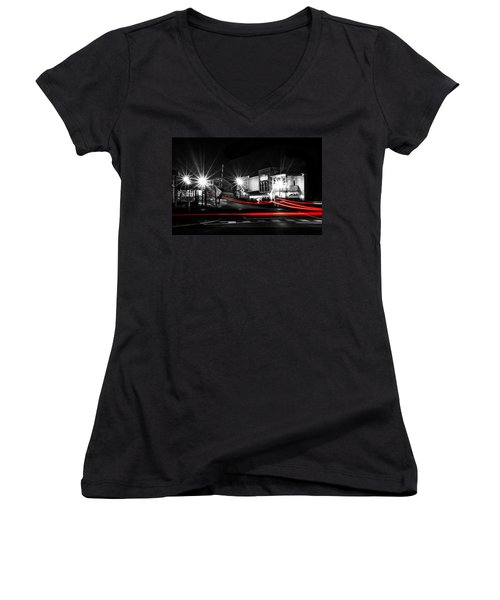 Old Town Helena At Night Women's V-Neck T-Shirt (Junior Cut) by Shelby  Young