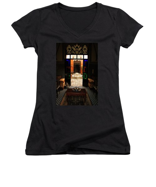 Old Traditional Riad In Fez Women's V-Neck T-Shirt (Junior Cut) by Ralph A  Ledergerber-Photography