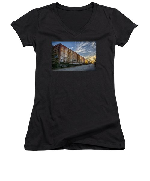 Women's V-Neck T-Shirt (Junior Cut) featuring the tapestry - textile Old Train - Galveston, Tx by Kathy Adams Clark