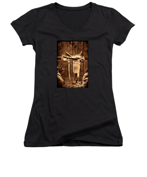 Old Western Saddle Women's V-Neck T-Shirt (Junior Cut) by American West Legend By Olivier Le Queinec