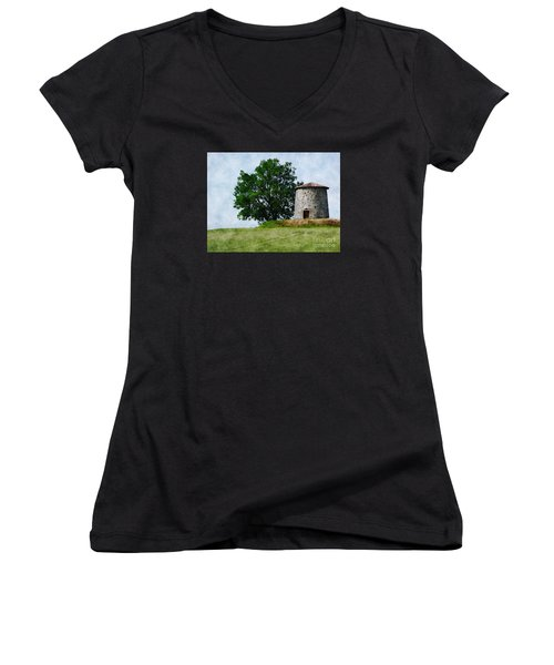 Women's V-Neck T-Shirt (Junior Cut) featuring the photograph Old Windmill by Jean Bernard Roussilhe