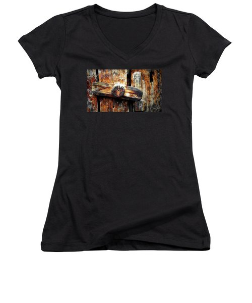 Old Wooden Latch Women's V-Neck (Athletic Fit)