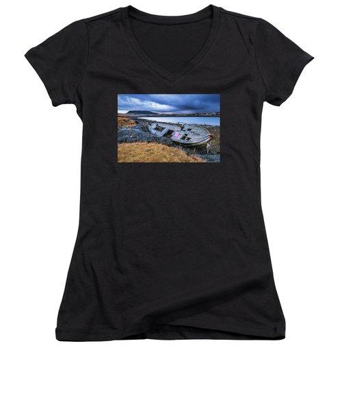 Old Wooden Ship On Beach Women's V-Neck T-Shirt (Junior Cut) by Joe Belanger