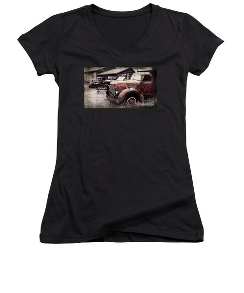 Old Work Trucks Women's V-Neck (Athletic Fit)