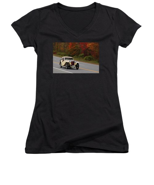 Women's V-Neck T-Shirt (Junior Cut) featuring the photograph Old Yeller 8168 by Guy Whiteley