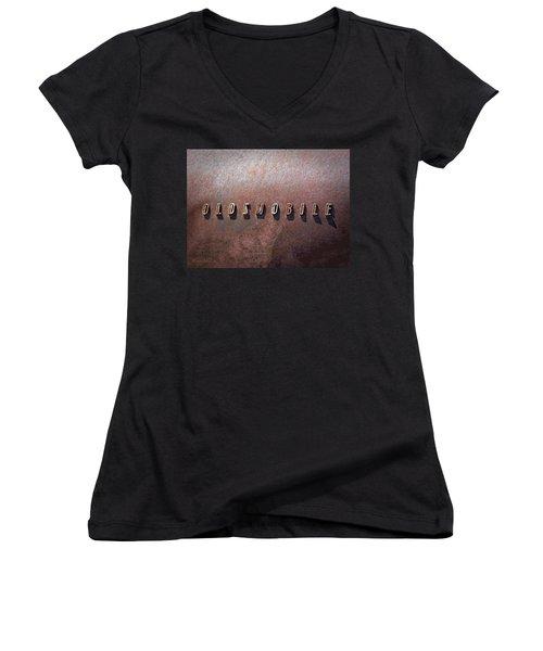 Oldsmobile Women's V-Neck T-Shirt (Junior Cut) by LeeAnn McLaneGoetz McLaneGoetzStudioLLCcom