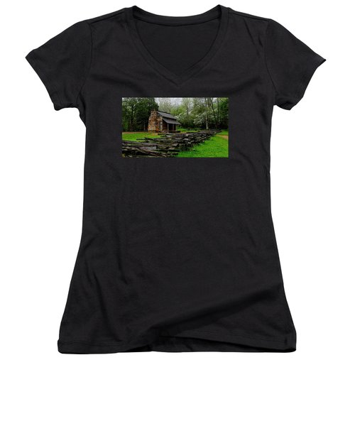 Oliver's Cabin Among The Dogwood Of The Great Smoky Mountains National Park Women's V-Neck