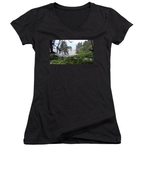 Women's V-Neck T-Shirt (Junior Cut) featuring the photograph Olympic National Park Beach by Tony Mathews