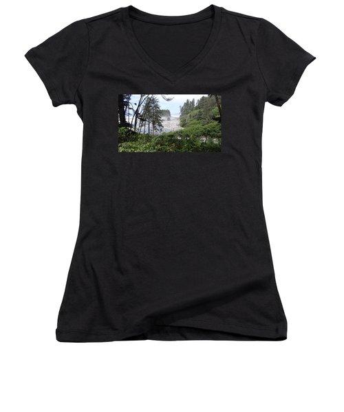 Olympic National Park Beach Women's V-Neck T-Shirt (Junior Cut) by Tony Mathews