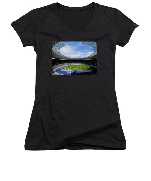 Olympic Stadium Berlin Women's V-Neck T-Shirt (Junior Cut) by Juergen Weiss