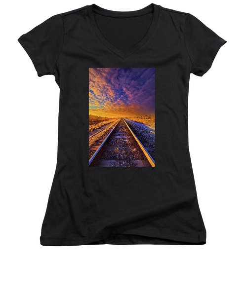 Women's V-Neck T-Shirt (Junior Cut) featuring the photograph On A Train Bound For Nowhere by Phil Koch