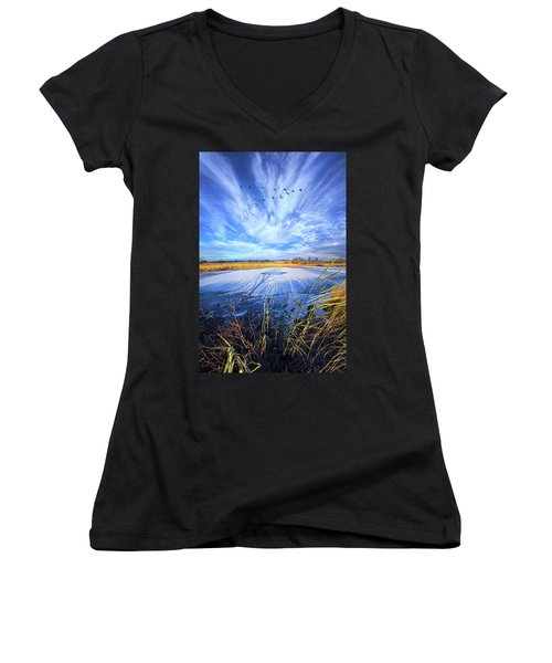 Women's V-Neck T-Shirt (Junior Cut) featuring the photograph On Frozen Pond by Phil Koch