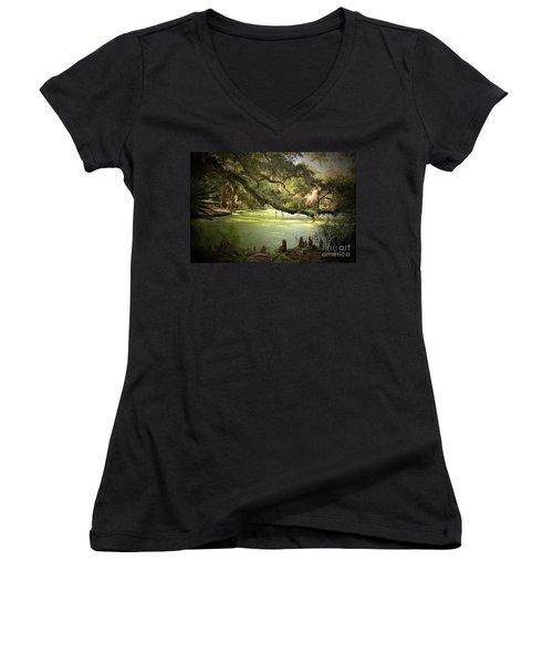 On Swamp's Edge Women's V-Neck T-Shirt (Junior Cut) by Scott Pellegrin