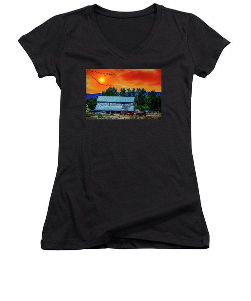 On The Farm II Women's V-Neck T-Shirt (Junior Cut) by Billie-Jo Miller