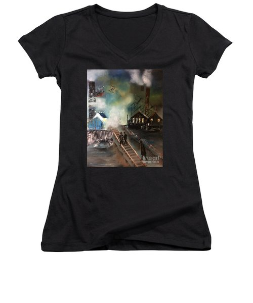 Women's V-Neck T-Shirt featuring the painting On The Pennsylvania Tracks by Denise Tomasura