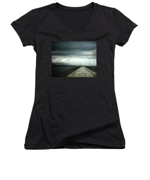 Women's V-Neck T-Shirt (Junior Cut) featuring the photograph On The Pier by Perry Webster