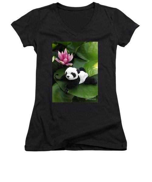 Women's V-Neck T-Shirt (Junior Cut) featuring the photograph On The Waterlily by Ausra Huntington nee Paulauskaite