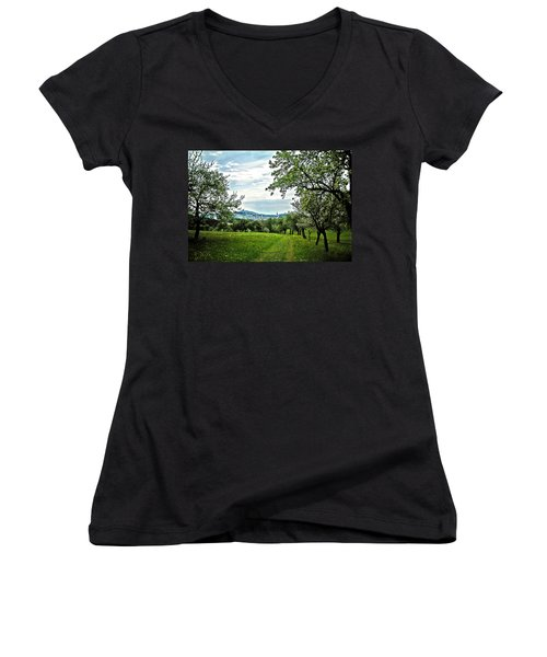 On The Way To Gramastetten ... Women's V-Neck T-Shirt (Junior Cut) by Juergen Weiss