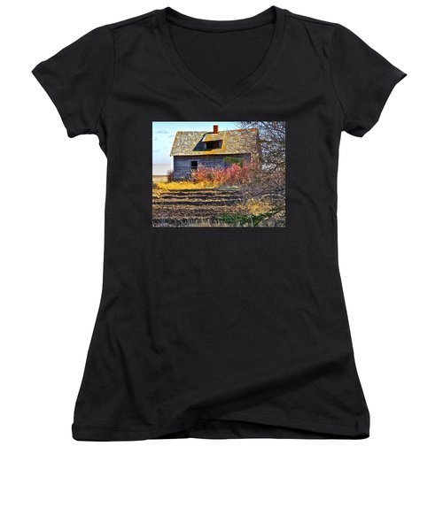 Women's V-Neck T-Shirt (Junior Cut) featuring the photograph Once A Lovely Home by Johanna Bruwer