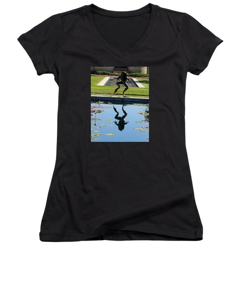 One Giant Leap Women's V-Neck T-Shirt (Junior Cut) by Pamela Critchlow