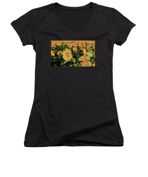 Women's V-Neck T-Shirt (Junior Cut) featuring the photograph One In A Million Sunflowers by Chris Berry