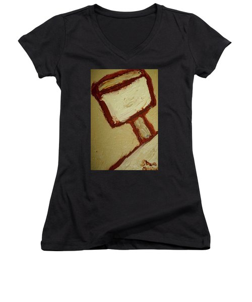 Women's V-Neck T-Shirt (Junior Cut) featuring the painting One Lamp by Shea Holliman